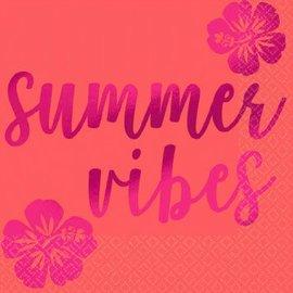 ''Summer Vibes'' Beverage Napkins-Hot Stamped 16ct