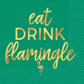 ''Eat Drink Flamingle'' Beverage Napkins-Hot Stamped 16ct