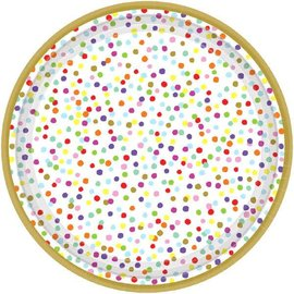 "Rainbow Confetti Metallic Round Plates, 7"" 18ct"