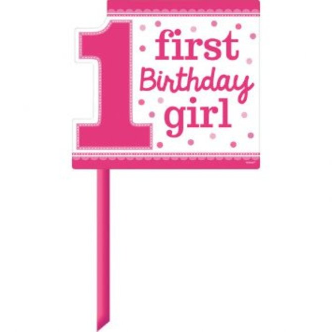 1st Birthday yard sign Pink