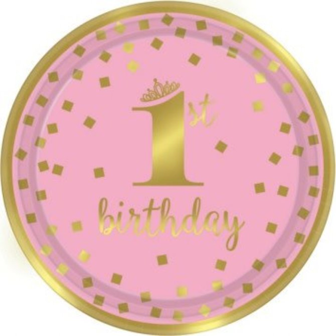 "1st Birthday Girl Metallic Round Plates, 9"" - 8ct"