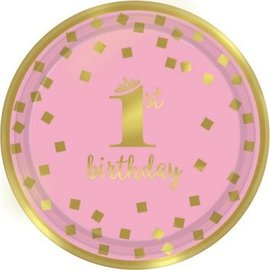 """1st Birthday 7"""" Plate 8 count"""