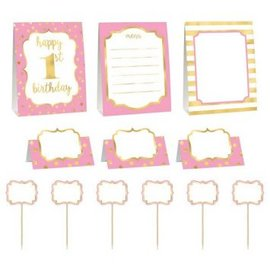 1st Birthday Pink Buffet Decorating Kit 9pc.
