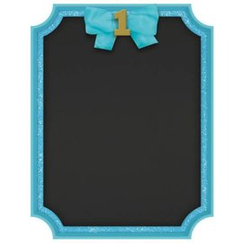 1st Birthday Blue Easel Glitter MDF Sign