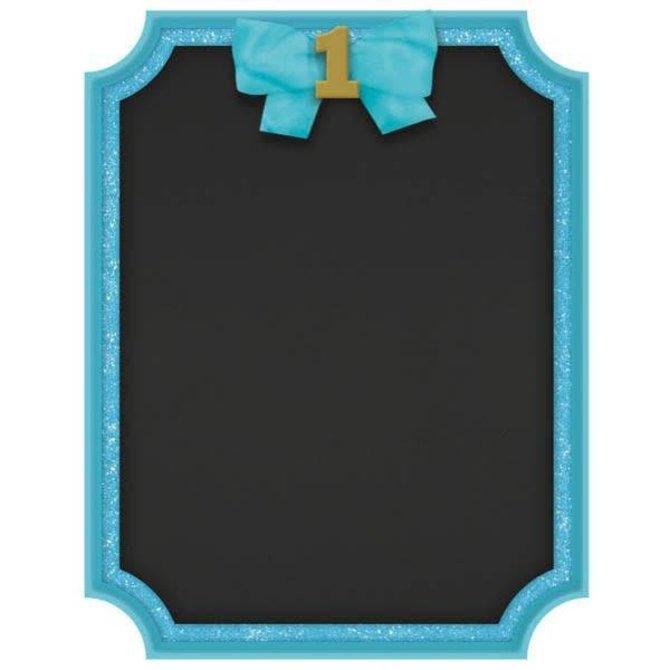 1st Birthday Blue Easel Glitter MDF Sign