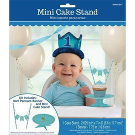 1st Birthday Blue Mini Cake Stand Kit