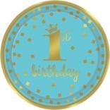 """1st Birthday Boy Metallic Round Plates, 9"""" 8 count"""
