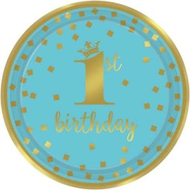 "1st Birthday Boy Metallic Round Plates, 9"" 8 count"