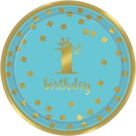 "1st Birthday Boy Metallic Round Plates, 7""  !6 count"