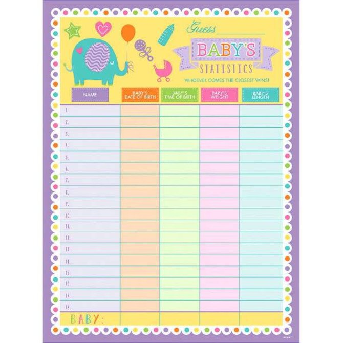 Baby Shower Statistics Sheet