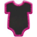 "Baby Girl Bodysuit Chalkboard Easel - Pink 9"" x 7"""