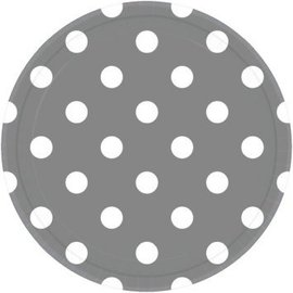 """Silver Plates, 9"""" - Dots 8ct"""