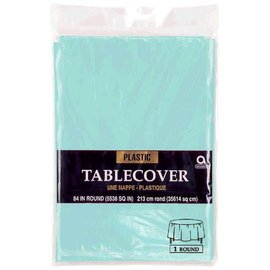 "Table Cover Plastic 84"" Round Robbins Egg Blue"
