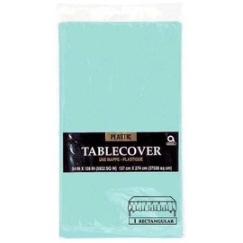"Robin's-egg Blue Rectangular Plastic Table Cover, 54"" x 108"""