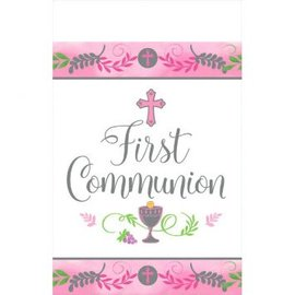 Communion Day Girl Plastic Table Cover