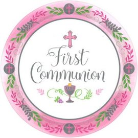 "Communion Day Girl Round Plates, 10 1/2""-18ct"