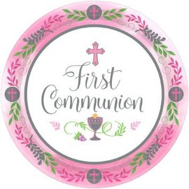 "Communion Day Girl Round Plates, 7""-18ct"