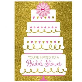 Gold Glitter Wedding Cake Bridal Shower Invitations 8ct