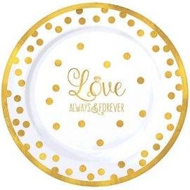"""""""Love"""" Round Premium Plastic Plates, 7 1/2"""", 20ct"""