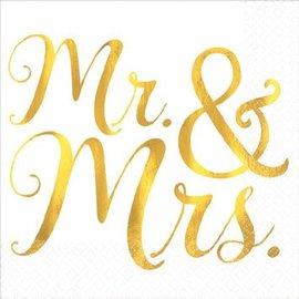 Hot Stamped Gold Mr. & Mrs. Wedding Beverage Napkins 16ct