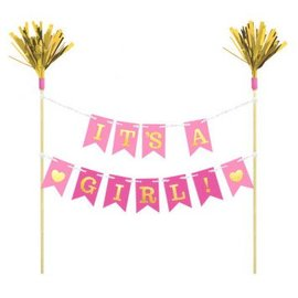 Pink Baby Shower Pennant Banner Cake Topper