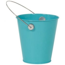 Caribbean Blue Metal Favor Pail