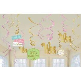 Confetti Fun Birthday Swirl Decorations 12ct