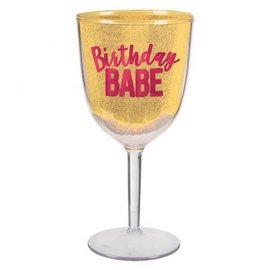 Confetti Fun Wine Goblet, Hot-Stamped Birthday Babe