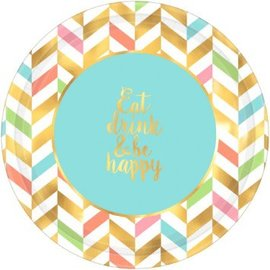 "Eat, Drink & Be Happy! Metallic Round Plates, 10 1/2"", 8ct"