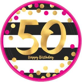 "Pink and Gold Milestone 50 Round Metallic Plates, 7"" 8ct"