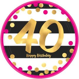 "Pink and Gold Milestone 40 Round Metallic Plates, 7"" 8ct"