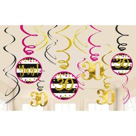 Pink and Gold Milestone 30 Swirl Decorations, 12ct