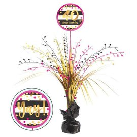 Pink and Gold Milestone 40 Spray Centerpiece