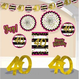 Pink and Gold Milestone 40 Room Decorating Kit