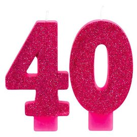 Pink and Gold Milestone 40 Numeral Candles