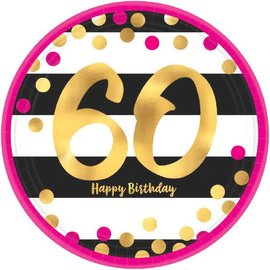 "Pink and Gold Milestone 60 Round Metallic Plates, 7"" 8ct"