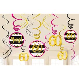 Pink and Gold Milestone 60 Swirl Decorations, 12ct
