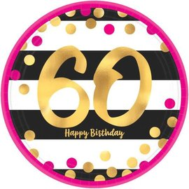 "Pink and Gold Milestone 60 Round Metallic Plates, 9"" 8ct"