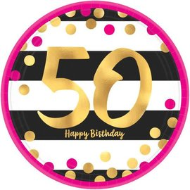 "Pink and Gold Milestone 50 Round Metallic Plates, 9"" 8ct"