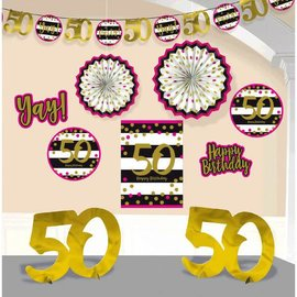Pink and Gold Milestone 50 Room Decorating Kit
