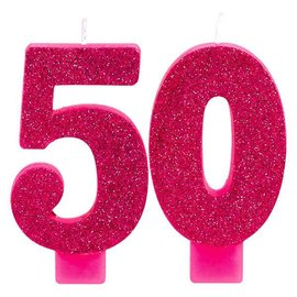 Pink and Gold Milestone 50 Numeral Candles
