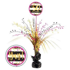Pink and Gold Milestone 50 Spray Centerpiece