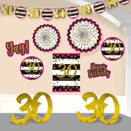 Pink and Gold Milestone 30 Room Decorating Kit
