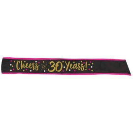Pink and Gold Milestone 30 Fabric Sash