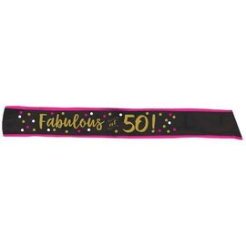 Pink and Gold Milestone 50 Fabric Sash