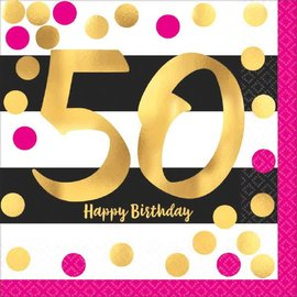 Pink and Gold Milestone 50 Hot-Stamped Luncheon Napkins, 16ct