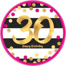 "Pink and Gold Milestone 30 Round Metallic Plates, 9"" 8ct"