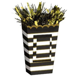 Small Popcorn Balloon Weight - Black/Gold Stripes