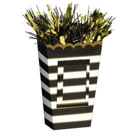 Small Popcorn Balloon Weight - Black/Gold Stripes