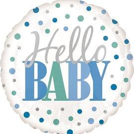 """Hello Baby Blue Balloon, 18"""""""